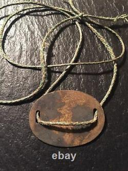 Antique WWII WW2 Imperial Japanese Army Brass Dog ID Tag With Rope Necktie