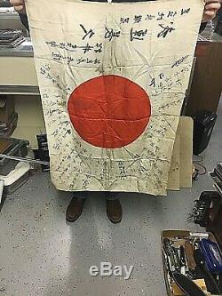 Antique Ww2 Imperial Japanese Inscribed Flag/banner / Navy Veteran Owned
