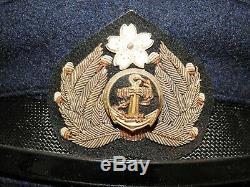 Imperial Japanese Navy WW2 OFFICER BULLION BADGED DRESS BLUE VISOR CAP IJN Hat