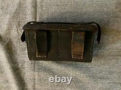 Original WW2 Imperial Japanese Army Leather Front Double Pocket Ammo Pouch