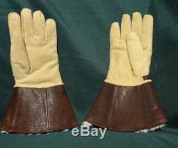 Original WWII Imperial Japanese Navy Aviation Pilot Guantlet Flight Gloves