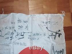 Original Ww2 Imperial Japanese Signed National Hata-/silk/ Many Signatures/name