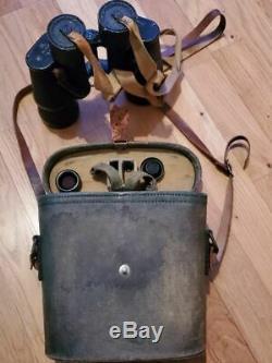 RARE WW2 Imperial Japanese Navy Army 7x70 Binoculars Case Sun Shades NICE ITEM
