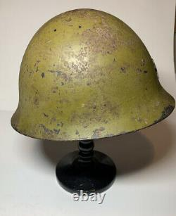 SIGNED WW2 WWII Japanese Imperial Army Type 90 Helmet With Star Emblem Original