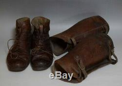 Vintage Imperial Japanese Army WW2 Leather Boots and Leather Gaiters VERY RARE