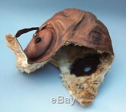 WW II Japanese Winter Flying Helmet Imperial Army Leather and Fur