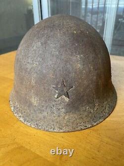 WW2 Imperial Japanese Army Type 90 Battle Damaged Combat Helmet
