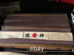 WW2 Imperial Japanese Pilots Lot Suitcase Sword Headband Wings Medal Banner