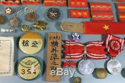 WW2 Imperial Japanese Pins Patches Rank Badges Tabs Chevrons Plates Medals 90 Pc