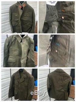 WW2 Japanese Imperial Army Uniform Set Jacket Coat Caps Pants Collar Emblem F/S