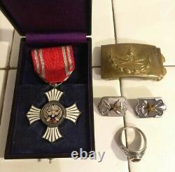 WW2 Japanese Red Cross Merit Order Medal Imperial Soldiers PIN RING BELT BUCKLE