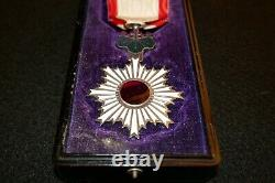 WWII Imperial Japanese Order of Rising Sun 6th Class Medal and Lacquer Case VF+