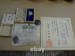 WWII JAPANESE sake cup china rising imperial document etc medal set ARMY NAVY