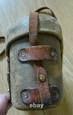 WWII Named Imperial Japanese Army Oiled Canvas Binocular Case with Strap