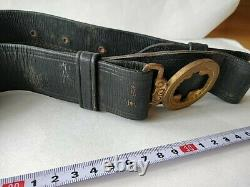 World War 2 WWII Japanese Military Imperial Navy Soldier's buckle Belt-c0925